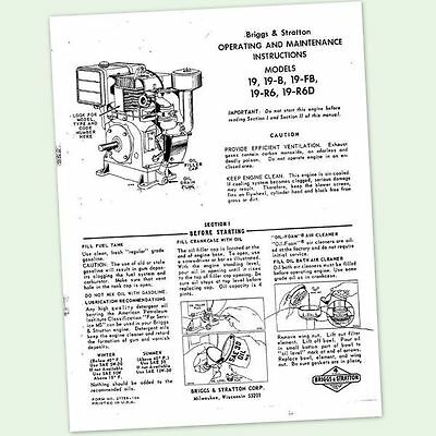 Briggs And Stratton Model 19-R6D Engine Operators Owners Maintenance Manual & Bs