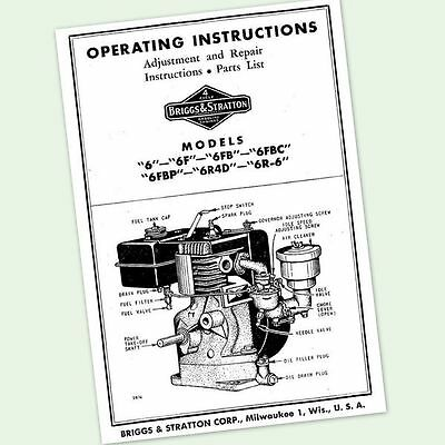 Briggs And Stratton 6Fbc Engine Operators Repair Part Manual Service Owners & Bs