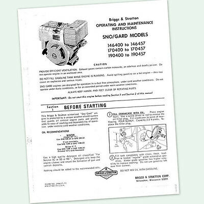 BRIGGS AND STRATTON 6hp ENGINE 146400 to 146457 OPERATING MANUAL OPERATORS