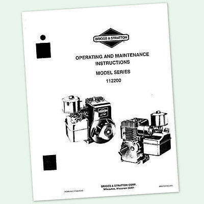 BRIGGS AND STRATTON 4hp ENGINE 112200 OPERATING MAINTENANCE MANUAL OPERATORS