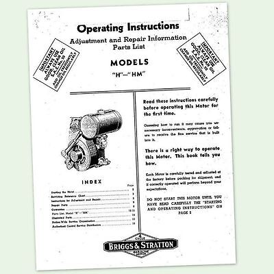 Briggs And Stratton Model H Hm Engine Owners Operator Repair Service Manual &