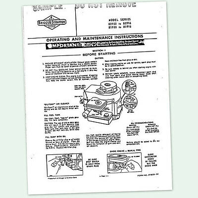 BRIGGS AND STRATTON 3hp ENGINE 81900 to 81996 OPERATING MANUAL OPERATORS POINTS