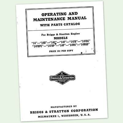 Briggs And Stratton 14R6D Operators Owners Service Repair Parts Manual & 14 Bs