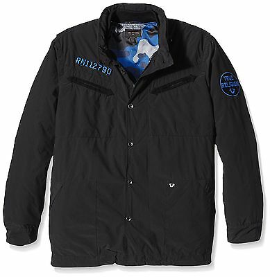 True Religion Men's Field with Detachable Bomber Jacket, Jet Black, Small