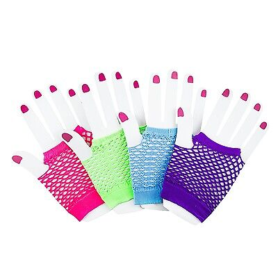 Fingerless Fishnet Neon Gloves for Parties, Costumes (12pk) by Super Z Outlet