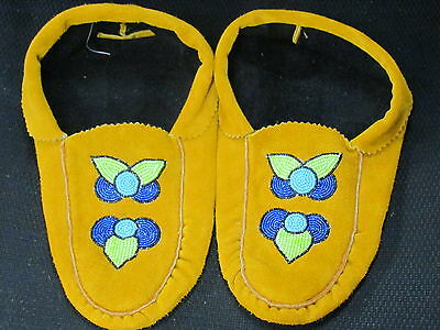 Native American  Home Tanned Moose Hide Moccasins 10 1/ 2 Inches Long  Superb