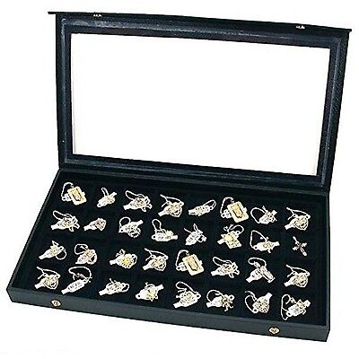 Black Plastic Earring Jewelry Display Case 32 Slots Clear Top for Home Organi...