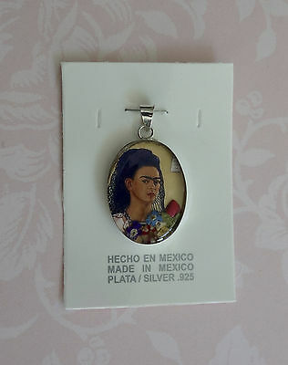 New! * Gorgeous Frida Kahlo 925 Silver Flower Pendant From Mexico * #2