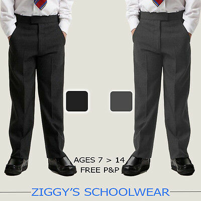 Boys School Trousers Stocky Generous Fit Sturdy Chunky Fit Elasticated Back Grey