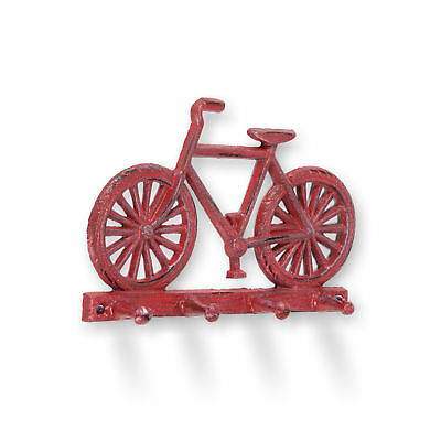 Abbott Collection Cast Iron Bicycle Quadruple Wall Hook, Antique Red