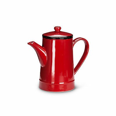 Abbott Collection Enamel Look Stoneware Teapot, Red (Tall)