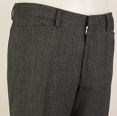 Vtg Grey Wool Blend Red Pinstripe Flat Front Trousers 90s does 60s  W32 DX15
