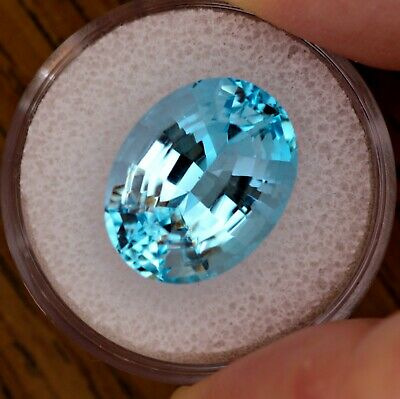 Oval Cut Genuine Natural  Blue Topaz 16x13mm Loose Stone 14.71ct. Gemstone