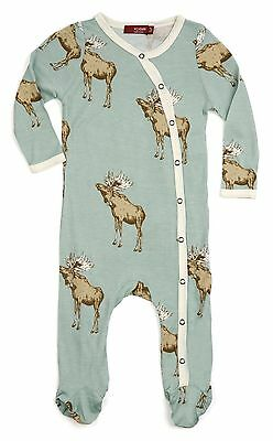 MILKBARN Bamboo Footed Romper - BOW TIE MOOSE - 3-6 Months - BRAND NEW