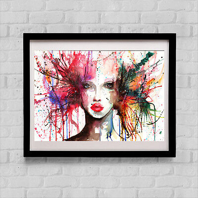 Original Watercolour Women Face Alien Print Nude Art Abstract Pop Art Lips