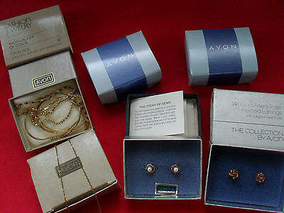 7pc Avon jewellery 14K gold filled culture pearl sterling silver gold tone boxed