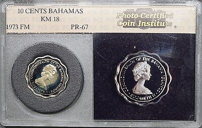 1973 Bahamas 10 Cent in Vintage Photo-Certified Coin Institute Slab