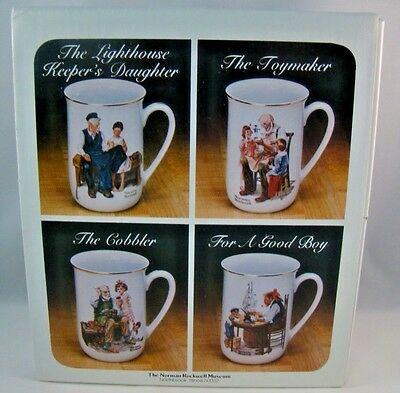 Norman Rockwell Museum Coffee Mug Set Of 4 Gold Trim Tea Cup Vintage 1982