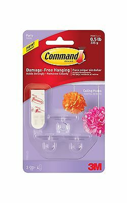 Command Party Ceiling Hook 0.5 lb Capacity 3 Hooks 4 Strips (17803C) New