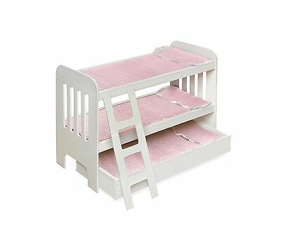 Badger Basket Trundle Doll Bunk Beds With Ladder -Pink/white New