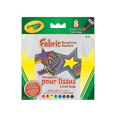 Crayola 8-Count Fabric Markers Brights New