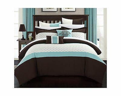Chic Home 8-Piece Lucca Quilted Embroidered Comforter Set Queen Brown New