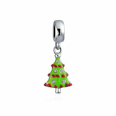 Bling Jewelry 925 Silver Green Christmas Tree CZ Dangle Bead Pandora Comp... New