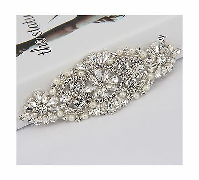 TRLYC White Ribbon Sash Bridal Sash Wedding Dress Sash Crystal Rhinestone... New