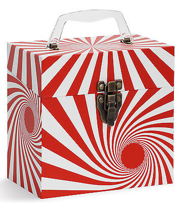 "Tunes-Tote ""Swirl Red"" 45 Rpm Record Carry Case (4501) Free Shipping!"
