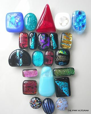 (22)pc LOT of colorful FUSED GLASS dichroic CABOCHONS bead ** NICE VARIETY **C1
