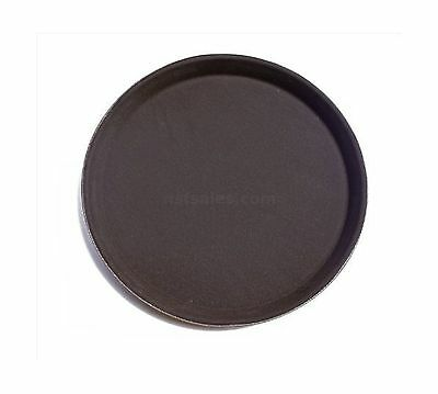 "New Star Foodservice 24968 NSF Plastic Non-Slip Tray Round 11"" Brown (Pac... New"