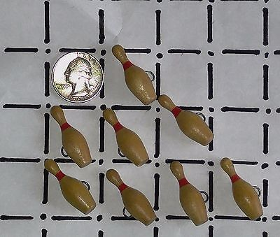 """Vintage Lot of 8 BOWLING BALL PIN Wood Buttons with Red Stripe 1 3/8"""" Long"""