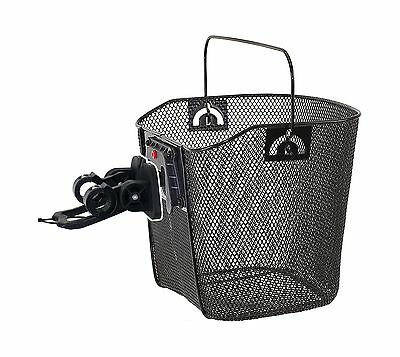 M-Wave Wire Bicycle Basket With Clip-on Bracket Black New