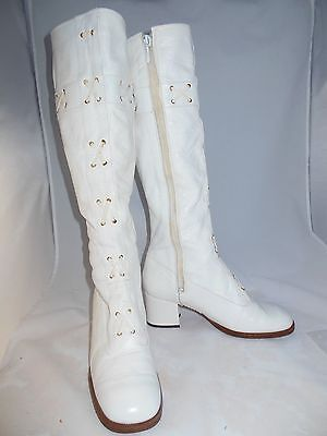 Vintage 60's White Leather New Go Go Boots Made In Italy Bei Kikonella Classique