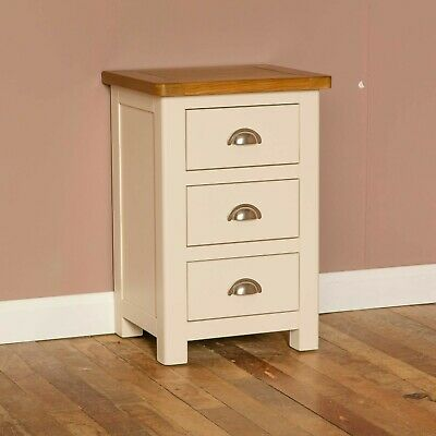 Padstow Cream Painted Bedside Table / Solid Wood Bedside Cabinet / Oak Top