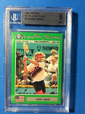ANDRE AGASSI 1991 NETPRO TOUR STARS BGS 9 MINT Tennis Card #3