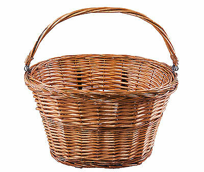 Honey Oval Bike/Bicycle Wicker Basket with Carry Handle Fit the Handlebars