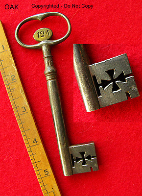 Ultra Rare 1700's Antique Skeleton Key - Knights Templar Cross - Vault Safe Old