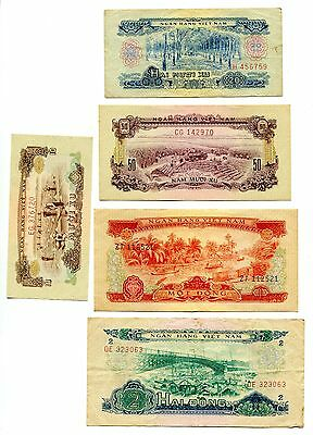 Vietnam South banknote 10 20 50 xu and 1 2 dong Set of 5, 1966 . P 39 - 43