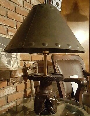 Antique Mining bit lamp with steel shade