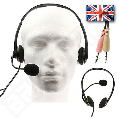 Computer PC Headset - 3.5mm Headphones & Microphone - Earphone Mic VOIP Skype