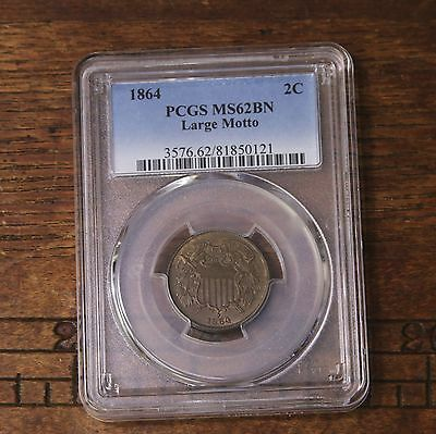 1864 Two Cent 2C Large Motto PCGS Certified MS62BN Mint State Brown US Copper