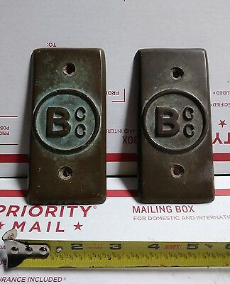 Vintage ODD Antique Ship's Brass / Bronze Sign tag Ship Boat plaques (PAIR) BCC?