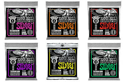 Ernie Ball Electric Guitar Strings Coated Titanium Reinforced Tech Slinky Pack