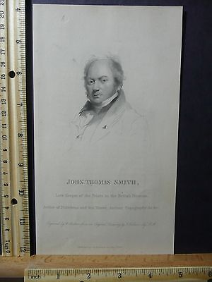 Rare Antique Original VTG John Thomas Smith Portrait Engraving Art Print