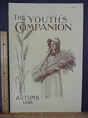 Rare Original Antique 1895 Youth's Companion Autumn Wheat Cover Only Art Print