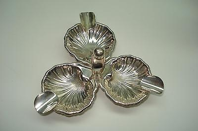Sterling Silver Ashtray Three Clam shell Design Hallmarked Eagle 20