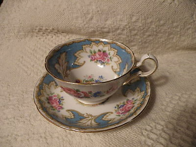 Royal Grafton Fine Bone China Cup/saucer Blue & Heavy Gold Beautiful Condition