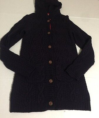 Mini Boden Girls Button Up Sweater Cardigan 13-14Y Navy Blue Acrylic