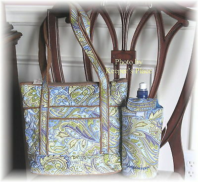 Longaberger Blue Paisley Quilted Bag Faux Leather Trim & Water  Bottle Cover New